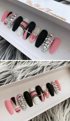 Nails set, Press on nails, Rhinestone nails, Abstarct nails, Pink black nails, Coffin nails #nailart #nail #naildesign #coffinnails #pressonnails #etsy #etsyshop #ad