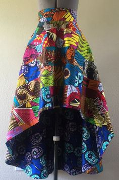 African Wax Print High Low Maxi A Line Cut Skirt Fully Lined Cotton - Women's style: Patterns of sustainability African Fashion Skirts, African Fashion Designers, African Inspired Fashion, African Print Fashion, Africa Fashion, Fashion Prints, Ankara Fashion, Ghanaian Fashion, African Print Skirt