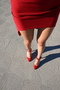 red shoes and red cut out pencil skirt on bottom today