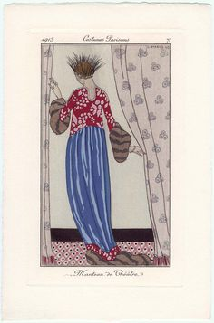 1913 Journal des Dames et des Modes illustration of evening [theatre] coat and feather head-dress. Art Deco Fashion, Fashion Prints, 1914 Fashion, Fashion Design, Art Deco Print, Mode Costume, Art Deco Movement, Original Vintage, Edwardian Fashion