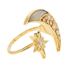 MAIYET Women's 18K Yellow Gold, 0.38 Total Ct. Diamond & Moonstone... ($1,650) ❤ liked on Polyvore featuring jewelry, rings, multi, gold moonstone ring, diamond cocktail rings, 18k diamond ring, yellow gold diamond rings and 18 karat gold ring