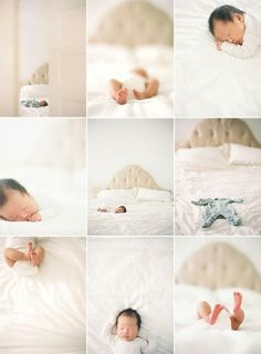 lifestyle newborn session. white comforter on the big bed