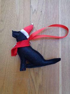 Handmade black felt Christmas Labrador type dog by CraftyBunnyDog