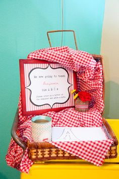 Vintage Red Wagon {Radio Flyer} Birthday Party - Have guests color the ABC book to teach your baby the alphabet