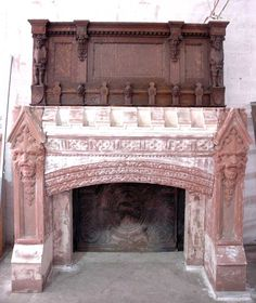 Carved Gothic brownstone fireplace mantel