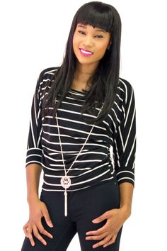 Striped Dolman Batwing Sleeve Necklace Tee $9.99   Danice Stores