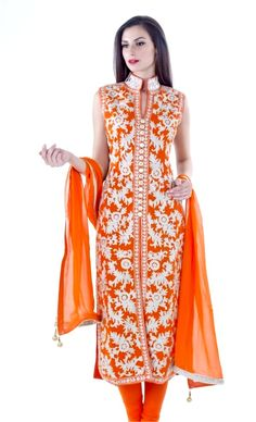 Orange Thread Aari Suit A straight suit in georgette fabricwith intricate thread aari embroidery done on both back and front of the shirt with mirror embroidery on the collars