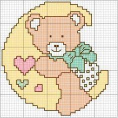 Teddy bear on a moon cross stitch pattern Baby Cross Stitch Patterns, Cross Stitch Baby, Cross Stitch Flowers, Cross Stitch Designs, Cross Stitch Cards, Cross Stitching, Cross Stitch Embroidery, Teddy Bear, Quilts
