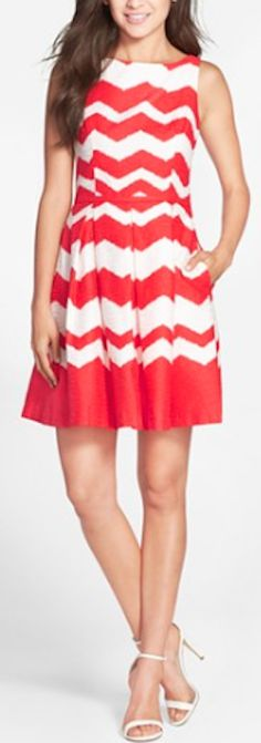 red chevron print fit and flare dress
