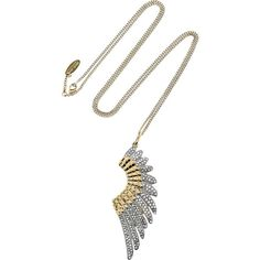 Roberto Cavalli Gold-plated Swarovski crystal wing necklace ($715) ❤ liked on Polyvore