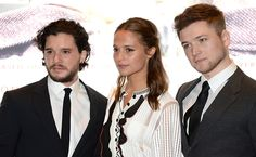 Actors Kit Harington Alicia Vikander and Taron Egerton attend the UK Premiere of 'Testament of Youth' at the Empire Leicester Square on January 5...