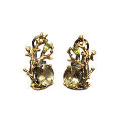 Ohrringe mit Lemonquarz Brooch, Crown, Jewellery, Sapphire, Lemon Yellow, Gold Paint, Silver, Ring, Corona