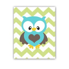 Owl Print Owl Nursery Art Print Chevron Print in Green Turquoise and Brown 11x14 Inch Print for Nursery Bedroom Wall Decor