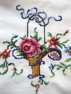 Cross Stitch Roses Pillowcase Set Bedding Cross Stitch