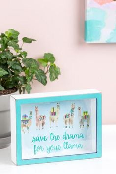 Save The Drama For Your Llama Shadow Box Sign