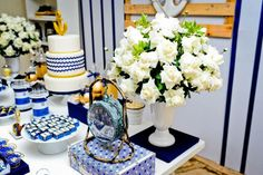 Chá náutico Navy Party, Nautical Party, Baby Shower, Table Decorations, Furniture, Home Decor, Blog, Sailor Party, Web Hosting Service