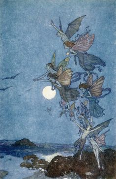 Ye elves to hills, brooks, standing lakes, and groves ~ Elves and Fairies, illustration for The Tempest, by Edmund Dulac.