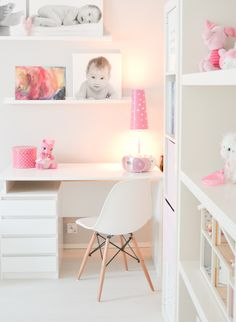 Study / Work space ideas! Pink Bedroom For Girls, Little Girl Bedrooms, Big Girl Rooms, Boy Room, Kids Room, Toddler Rooms, Kids Decor, Bedroom Decor, Office Desk