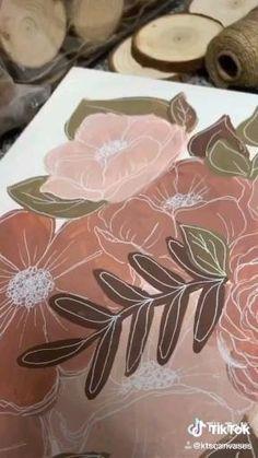 Diy Painting, Painting & Drawing, Mini Canvas Art, Art Drawings Sketches, Acrylic Art, Art Tutorials, Art Lessons, Flower Art, Watercolor Paintings