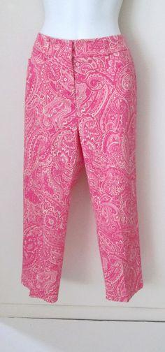 Jones New York Size 6 Cropped Pants Mod Pink Paisley Cotton Stretch  #JonesNewYork #CaprisCropped