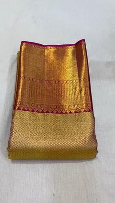 South Indian Wedding Saree, Indian Bridal Sarees, Wedding Silk Saree, Saree Tassels Designs, Half Saree Designs, Fancy Blouse Designs, Gold Silk Saree, Pink Saree, Pattu Sarees Wedding