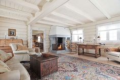 I love this room - and that fireplace!