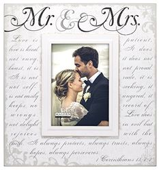 Malden International Designs Silkscreened Corinthians Verse Mr  Mrs Wood Picture Frame 5x7 Off White