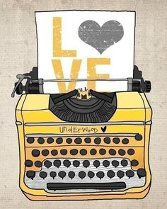 Love typewriter illustration print by Photo Images, Poster S, Photocollage, Vintage Typewriters, Arte Pop, Jolie Photo, Mellow Yellow, Color Yellow, Yellow Shades