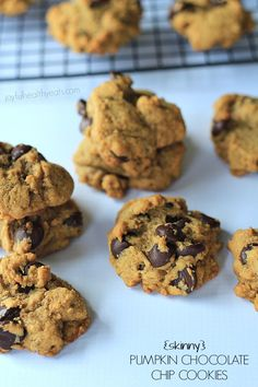 {Skinny} Pumpkin Chocolate Chip Cookies, made with coconut oil... super moist! | www.joyfulhealthyeats.com #fall #pumpkin #dessert
