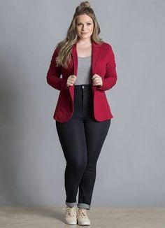1fc3525605 Blazer de Moletom Poá Bordô Plus Size - Quintess