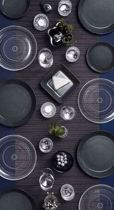This black table setting is a modern take on the decorating with black trend. See more ideas and shop at Party Food For Adults, Black Table, Black Furniture, Dish Sets, Modern Colors, Home Decor Trends, Best Part Of Me, Black House, Color Inspiration