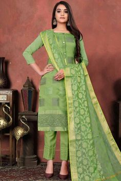 Be the cynosure of all eyes by wearing this light green art silk trouser suit which will make you absolutely astoundingly gorgeous and that will be least interesting thing about you. This square neck and 3/4th sleeve party wear suit beautified with woven work. Teamed up with santoon trouser pants in light green color with light green banarasi silk dupatta. Trouser pant is plain. Dupatta adorned with woven work. #trousersuit #salwarkameez #malaysia #Indianwear #Indiandresses #andaazfashion Trouser Suits, Trousers, Pakistani Salwar Kameez, Churidar, Pantalon Cigarette, Orange Fabric, Silk Dupatta, Online Fashion Stores, How To Dye Fabric