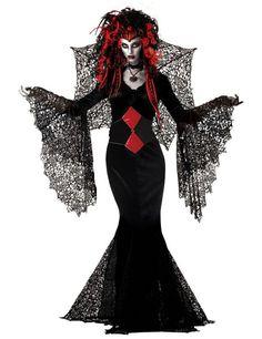 Schwarze Witwe Halloween Gothic Damen Kostüm schwarz-rot
