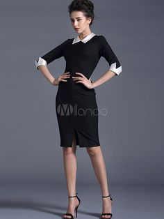 Elegant Spread Neck 3/4 Length Sleeves Two-Tone Party Dress