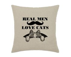He just pretends not too ;). Real Men Love Cats Hipster Mustache Moustache Geek Cat Kitty - print on natural 100% linen canvas - 16x16 decorative pillow cover