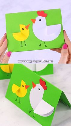 We love simple and easy and this Paper Circle Hen and Chick Craft is the simplest Easter card or craft you can make with your kids. basteln für Kinder einfach Paper Circle Hen and Chick Craft - Easter Card Idea - Easy Peasy and Fun Easter Art, Bunny Crafts, Easter Crafts For Kids, Flower Crafts, Preschool Crafts, Diy For Kids, Diy Crafts, Diy Easter Cards, Snowman Crafts