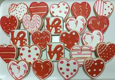 LOVE Valentine Heart Decorated Sugar Cookies by I AM the Cookie Lady