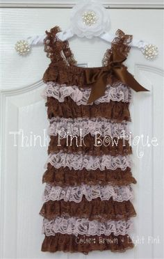 Pink & Brown Lace Romper