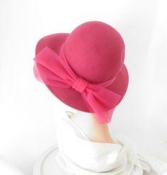 Vintage pink fedora hat/ fuchsia Michael by TheVintageHatShop, $46.00