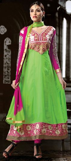 USD 26.52 Mint Green Georgette Long Anarkali Salwar Kameez 43194