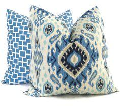 Shades of Blue Ikat Decorative Pillow Cover, 18x18, 20x20, 22x22 or lumbar pillow Throw Pillow, Accent Pillow, Toss Pillow, $30.00