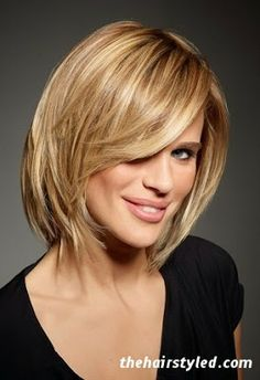 Medium Length Hair, long layers, long sideswept bang -- like (and need) the longer layers on top ...