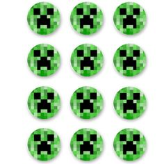 "Minecraft Edible Icing 2"" Cookie/Cupcake Toppers -12 Pk"