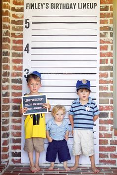 Making the Most of Your DIY Photo Props (+ Lego Police Party & Donut Party) // Hostess with the Mostess® Lego Police Birthday Party- police lineup photo booth Batman Birthday, Batman Party, Superhero Party, Kids Police, Lego Police, Police Officer, Lego Cops, Police Police, Office Birthday