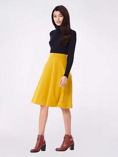 Plain Midi Skater Skirt Yellow | Yumi