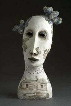 Amanda Shelsher:Away with the Birds, 2009  Hand built stoneware, glaze, slips & sgraffito  48 x 27 x 18cm