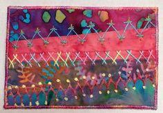 Pink and blue batiks modern crazy-quilt postcard