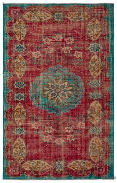 """For a contemporary look with a vintage appeal, we source rugs in excellent condition and carefully trim the piles to achieve an eye-catching """"distressed"""" look. Woven with wool on cotton, this fine rug measures 5'7'' x 8'9'' (170 cm x 266 cm). In addition to being unique and hand-made, these rugs make a very special statement about bridging generations of artisanal skill and knowledge over time with a charming look that complements any modern or bohemian décor. Check out our article Get The…"""