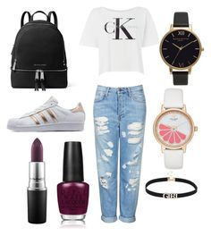 """""""cool day"""" by theteress ❤ liked on Polyvore featuring Topshop, Calvin Klein, adidas Originals, Olivia Burton, Kate Spade, MICHAEL Michael Kors, OPI and MAC Cosmetics"""