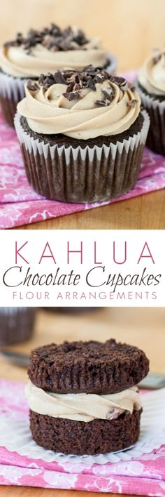 Kahlua Chocolate Cupcakes with Espresso Buttercream Frosting Kahlua Chocolate Cupcakes deliver rich chocolate flavor with warm Kahlua undertones. A simple espresso buttercream adds sweetness with an edge. An easy dessert recipe for any occasion! Brownie Desserts, Oreo Dessert, Mini Desserts, Coconut Dessert, Easy Desserts, Delicious Desserts, Baking Desserts, Plated Desserts, Cupcake Recipes
